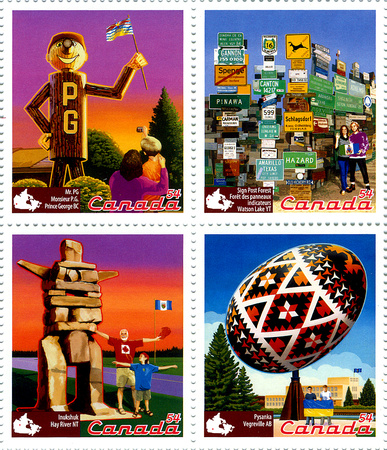 """Roadside Attractions""Stamps 1st set of 12 paintings"